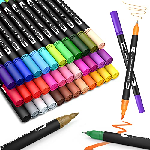 Dual Tip Brush pen, Koilox Watercolor Pen Set, 36 Color Double Ended Painting Pen, Fine line art Marker pen, Water Based Highlighter, Used for Outline, Drawing, Calligraphy and Coloring Books.