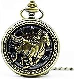 Reloj de bolsillo y pulsera Regalos de los relojes de bolsillo reloj de bolsillo automática Auto Retro reloj de bolsillo hueco caballo mecánico mujeres de los hombres del reloj ( Color : Bronze )