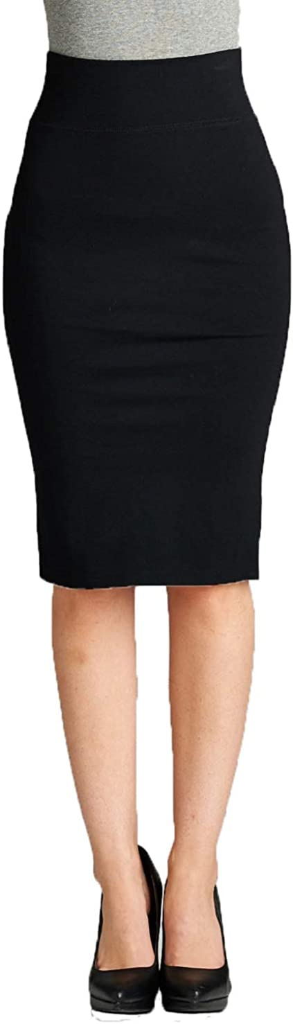 YourStyle USA Women's Pencil Skirt - High Waist Stretch Bodycon Midi Knee Length Pull On Comfort Basic Work Office Wear