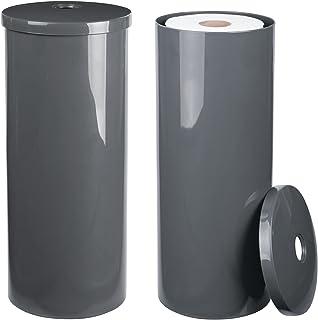 mDesign support de papier toilette sur pied (lot de 2) – dérouleur de papier WC élégant avec couvercle, jusqu'à 3 rouleaux...
