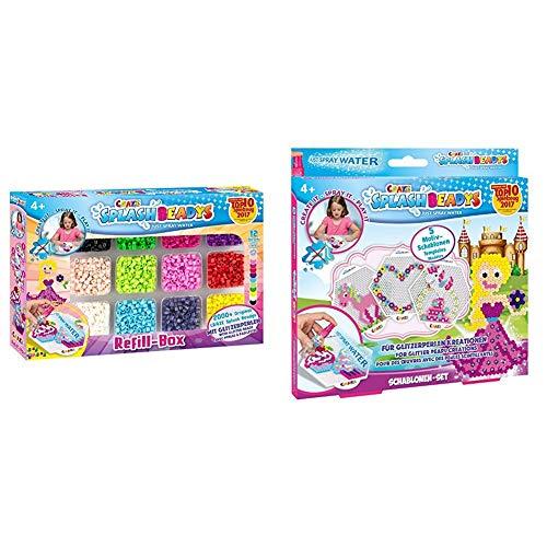 CRAZE 59440 - Splash Beadys Refill Box Girls, mit Perlen und Zubehör & 11096 Splash BEADYS-Schablonen-Set Girls