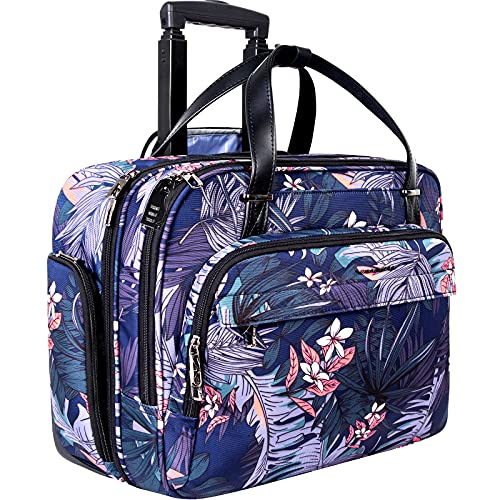 VANKEANRolling Laptop Case for Women,Premium Rolling Travel Luggage Bag Fits Up to 15.6 Inch LaptopCarry on BriefcaseWater-Proof Overnight Rolling Computer Bags with RFID Pockets