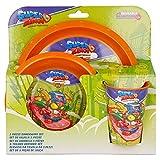 SUPER ZINGS   Set Vajilla Infantil - Resistente   Servicio de Mesa libre de BPA para niños y bebés - 3 Piezas: Vaso, Plato y Cuenco