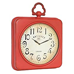 NIKKY HOME Square Space Wall Clock, 13-3/4x2-3/4x17-1/2, Red
