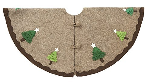 ARCADIA HOME T1G Multilayered Grey Christmas Tree Skirt in Hand Felted Wool, Natural