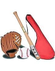 IDE Con Mezclado 25' Conjunto de béisbol Infantil, Conjunto de béisbol, Bate de Madera, Bola y del Guante de béisbol, Mayor de la Liga de béisbol Menor BallLittle Set Kit Multicolor,Elmbat3