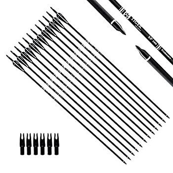 TIGER ARCHERY 30Inch Carbon Arrow Practice Hunting Arrows with Removable Tips for Compound & Recurve Bow Pack of 12   Black White