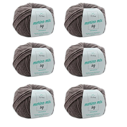 MyOma Merinowolle zum Stricken - Merinogarn Taupe (Fb 3995) - 6 Knäuel Merino Wolle in Taupe – braune Merinowolle – Lauflänge 50g/75m – Wolle zum Stricken – Nadelstärke 6-7mm – Merino Mix Big
