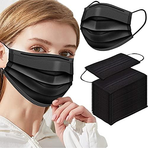 100Pcs Black Disposable Face Masks,Black Face Masks Disposable Breathable 3 Layers Protection - Comfortable/Breathable mask