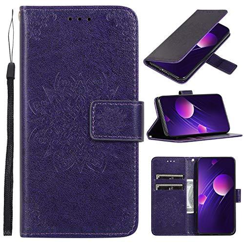 Hülle Handyhülle for Galaxy A20S, Premium Leder Flip Schutzhülle [Standfunktion] [Kartenfächer] [Magnetverschluss] lederhülle klapphülle für Samsung Galaxy A20S - TTCDD010112 Violett