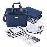 Mochila de Picnic para 4 Personas|Bolsa para refrigerador |Mochila de Picnic Bolsa cesto Bolsa refrigeradora con Juego de vajilla y Manta para Playa,Picnics,Camping(Blue)