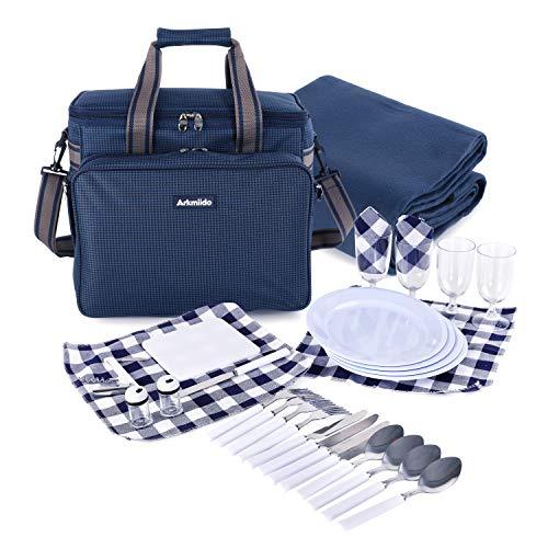 Arkmiido Picknickrucksack, Picknickkorb 4 Personen, 4 Picknickanzug-Isolationstaschen mit Campingutensilien und Campingdecke für Familien im Freien (Blau)