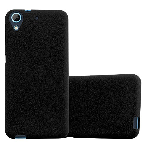 Cadorabo Hülle für HTC Desire 626G - Hülle in Frost SCHWARZ – Handyhülle aus TPU Silikon im matten Frosted Design - Silikonhülle Schutzhülle Ultra Slim Soft Back Cover Case Bumper