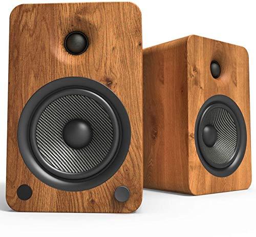 Kanto YU6 Powered Bookshelf Speakers with Bluetooth and Phono Preamp | Walnut | Pair