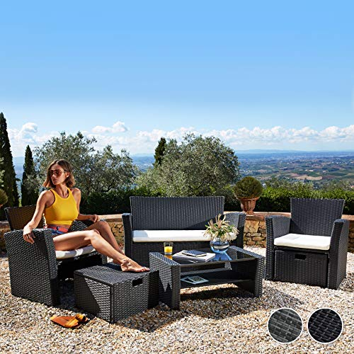 TecTake 800719 Rattan Seating Set 6 PCs, Sofa Seats Stools Table with Glass Top, UV-Resistant, Steel Frame, incl. Cushions, ideal Garden Patio Outdoor (Black | No. 403278)