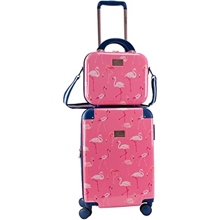 Ice Blue Chariot Gatsby 2-piece set Hardside Expandable Carry On Luggage With Matching Beauty Case