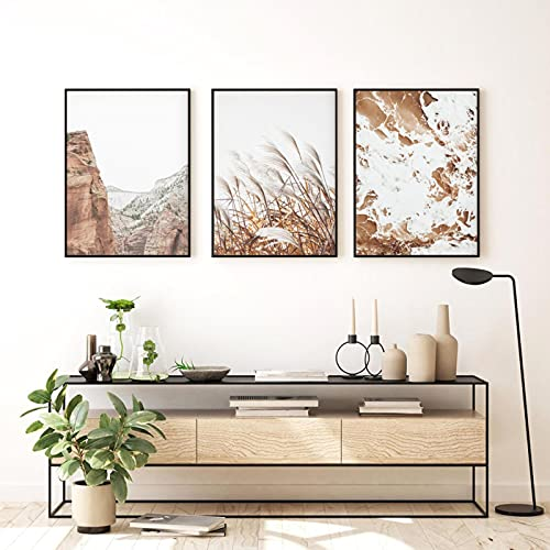 Wydruki Pampas Trawa Ocean Bohemia Coastal Beach Wall Art Obrazy na płótnie Boho Wall Art Plakaty Living Room Home Decor (70x100cm) X3 Unframed