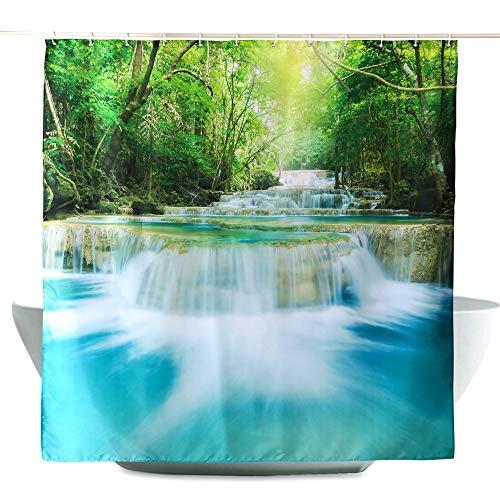 ENCOFT Duschvorhang 180 x 180 cm aus 100prozent Polyester mit 12 Duschvorhangringe für Badezimmer Wasserabweisend & Anti-Schimmel