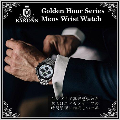 『[バロンズ] 腕時計 メンズ クロノグラフ 日本製クォーツ 防水 夜光 アラーム アナデジ表示 (02-ホワイト)』の1枚目の画像