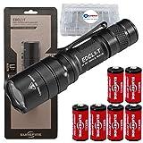 SureFire EDCL1-T 500 Lumen Tactical EDC Flashlight Bundle with 6 Extra Surefire CR123 and 2 Lightjunction Battery Cases