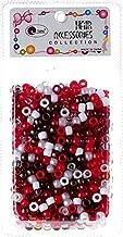 Tara Assorted Colors Plastic Beads Selection for Braid Hair (BURGUNDY)