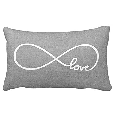 Acelive 12x20 inches Cotton Linen Standard Pillowcase Home Decorative Cushion Case Rustic Gray Love Throw Pillow Cover For Valentine's Day Gifts
