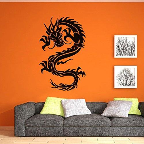 Populaire Chinese draak stijl stickers woondecoratie draak lijm muurstickers poster kunst woonkamer slaapkamer stickers 63x99cm