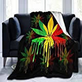 Yonjiq Reggae Rasta Marijuana Leaf Weed Sherpa Fleece Blanket Twin Size Plush Blanket Fuzzy Soft Throw Blanket Microfiber 50' x40