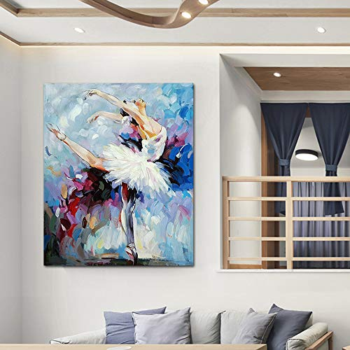 WSNDGWS Pintura Decorativa al óleo Decorativa Abstracta Pintada a Mano Pura Pura Pintura al óleo Femenina Pintada a Mano Pura del balletA6 60x90cm