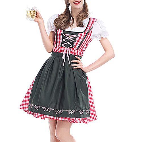 Oktoberfest Kostüm für Damen Bierfest Gitter Kleid Anzug Bayerische Kurzarm Trachtenkleid Dirndl Tavern Maid Dress süße Freizeit bar Traditionelles Midikleid Karneval Kostüm ZHANSANFM (S, rot)