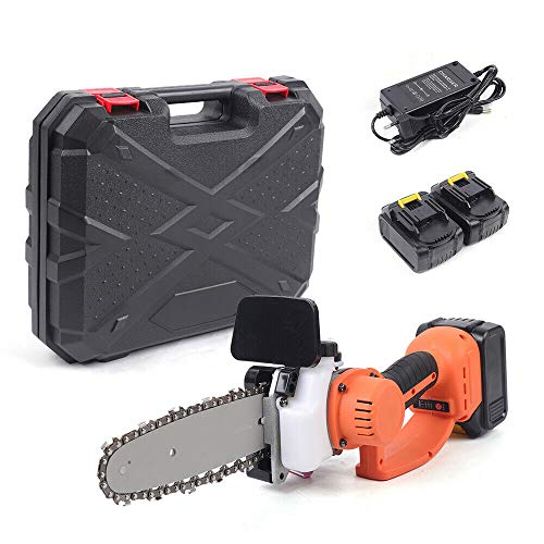 Akku Kettensäge Astkettensäge Motorsäge mit zwei Batterien und einem Ladegerät