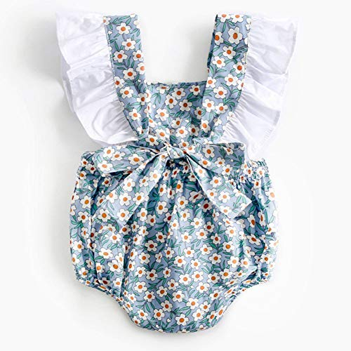 Baby Girl Summer Clothes Bodysuit Pasgeborenen Baby Girl Princess strik Romper Bloemen Jumpsuit Outfits (0-3 jaar)