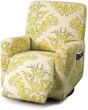 Best TIKAMI Recliner Slipcovers Stretch Printed Chair Covers with Side Pocket Washable Lazy Boy Furniture