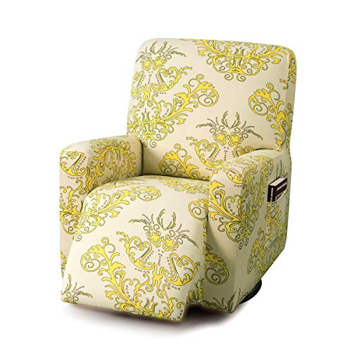 TIKAMI Recliner Slipcovers Stretch Printed Chair Covers with Side Pocket Washable Lazy Boy Furniture Protector(Yellow Print)