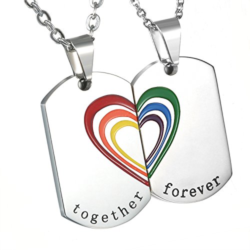 Cupiamtch 2PCS Couple Necklace Stainless Steel Rainbow Heart Matching Dog Tag Pendant Chain (Couple Necklace)
