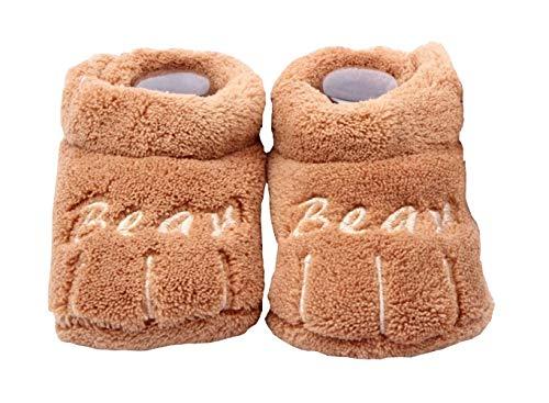 (marrón) zapatos de bebé - niños - invierno - cálido - idea de regalo - unisex (talla 19 eu = 6/12 meses del fabricante)