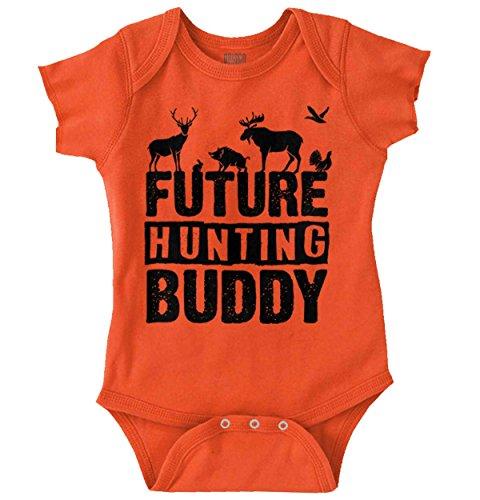 Future Hunting Buddy Deer Hunter Child Romper Bodysuit Orange