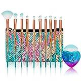 Makeup Brushes Set with Bag Citicolor Chubby Fish Foundation Brush 11pcs Soft Nylon Bristles Beauty Make Up Kits, Blending Blush concealer Eye Face Lip Cosmetic Tools (Diamond Shape 11pcs)