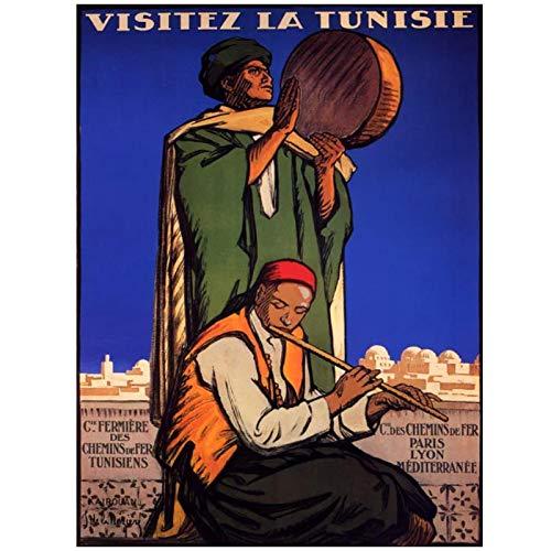 Wsxyhn Carteles De Viaje De África Visita Túnez Pinturas Clásicas En Lienzo Carteles De Pared Sala De Estar Decoración del Hogar Regalo-50X70Cm Sin Marco