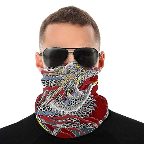 Emonye Viciony Yakuza Dragon TattooHat Face Scarf Bandana Dustproof Headband Neck Gaiter Balaclava Headwear Breathable Face Cover for Outdoors for Women Men