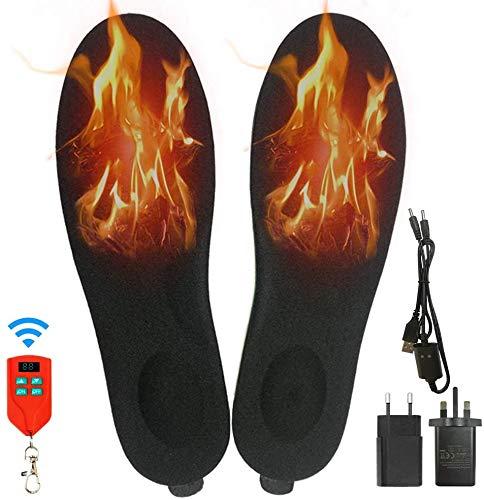 J JINPEI Beheizbare Einlegesohlen Fußwärmer Beheizbare Thermosohle Kit mit Fernbedienung Schalter Drahtlose Wiederaufladbare batteriebetriebene Heizung (Schwarz, 10-15 (41-46))