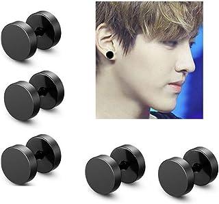 Hisght 3 Pairs 10mm in Diameter Punk Rock Round Titanium Steel Black Barbell Stud Earrings Dumbbell Earrings for Women and Men