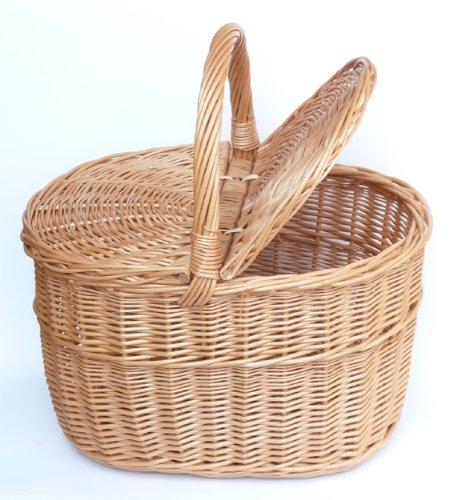 Tigana Picknickkorb Einkaufskrbr Pilzkorb mit zwei Deckel aus Weide 40 x 30 cm - 1F