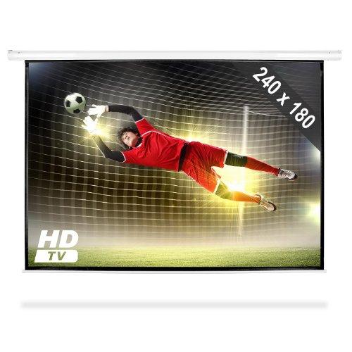 FrontStage PSEC-120 - Beamer Leinwand, Projektor Leinwand, Heimkino Leinwand, 240 x 180 cm, Bilddiagonale 305 cm, 120 Zoll, optimiert für HDTV, einfache Montage, Robustes Metallgehäuse, weiß