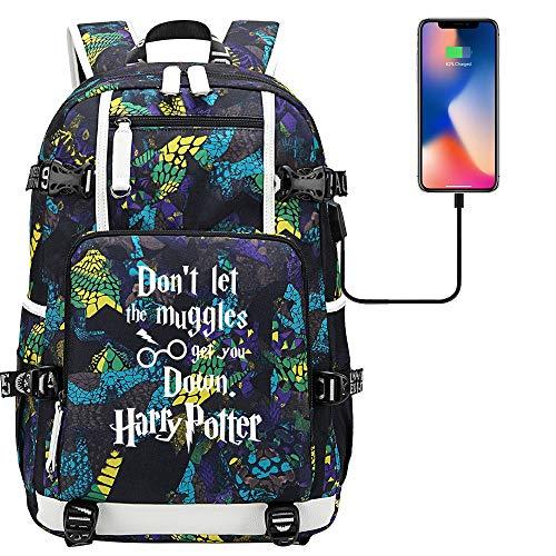 Mochila con Alfabeto de Harry Potter, Mochila para computadora portátil, Mochila para Estudiantes(Colorful-A) 47/30/15cm estilo-29
