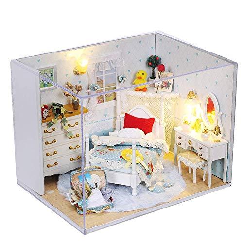 Detazhi Holzblock 3D Holz DIY Cottage Handgemachte Puppenhaus Mini Prinzessin Hut Serie Miniatur Landschaft Home Decoration Urlaub Geburtstagsgeschenk (Farbe: Mehrfarbig, Größe: 17 * 13 * 13 cm)