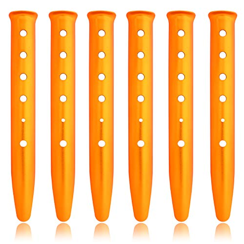 HIKEMAN 6pcs Snow and Sand Tent Stakes Pegs Lightweight Aluminum Alloy Stakes Pegs Outdoor U-Shaped Camping Stakes For Camping Hiking Backpacking (golden)