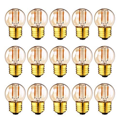 G40 LED Filament Mini Globe Outdoor Lampadina 1W bianco caldo 2200K (ambra glow) 10W equivalente equivalente per interni ed esterni Decor, E27 Edison Base a vite 15-Pack