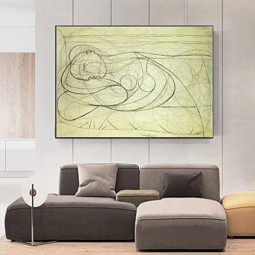 WKAQM Mentir Mujer Desnudo por Pablo Picasso Lienzo Pared Arte Galería Sala Cuadro Pared Arte Decoración Famoso Póster Impresiones Resumen Pared Pintura Sin Marco