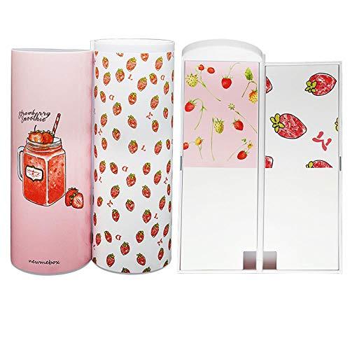 iMyoung Kreative Multifunktionale Stiftbox mit Spiegel Taschenrechner Große Kapazität Federmäppchen für Jungen Mädchen Schule Schreibwaren Box erdbeere